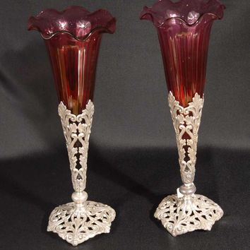 Canonbury - Pr English Glass Sheffield Silverplate Vases Silver