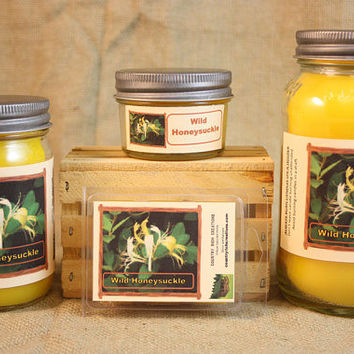 Wild Honeysuckle BBW Type Scented Candle,  Wild Honeysuckle BBW Type Scented Wax Tarts, 26 oz, 12 oz, 4 oz Jar Candles or 3.5  Wax Melts