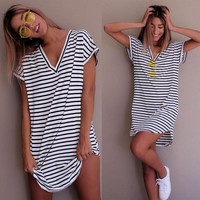 Short Sleeve Tops Stripes Casual V-neck T-shirts [52179501082]