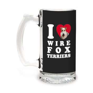 Tree-Free Greetings GS09142 I Heart Wire Fox Terriers Artful Alehouse Glass Stein, 16-Ounce