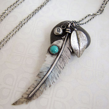 Silver Feather Necklace, Long Silver Necklace