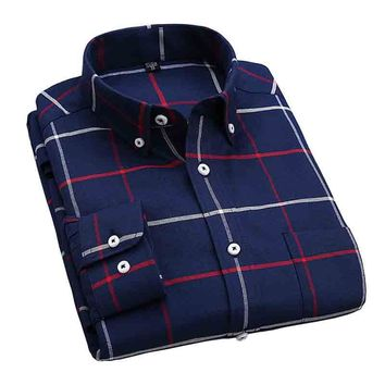 Camisa New Fashion 2017 New Men Shirts Plaid Leisure Slim Fit Shirt Long Sleeve Flannel High Quality Mens Clothes