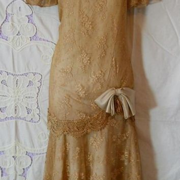 Vintage lace dress beige tea stained drop waist by vintageopulence