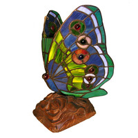 Tiffany Style Stained Glass Green Butterfly Accent Table Lamp TU3022