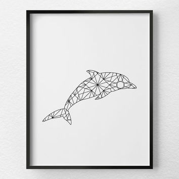 Dolphin Art, Dolphin Print, Geometric Dolphin Art, Minimalist Art, Bathroom Decor, Geometric Art, Black and White Art, Dolphin Poster, 0371
