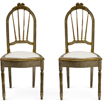 19th-C. French Carved Wood  Chairs, Pair