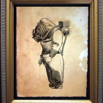 Vintage Diver Print - Deep Sea Diver Art Print - Nautical Illustration - Tea Stained Paper