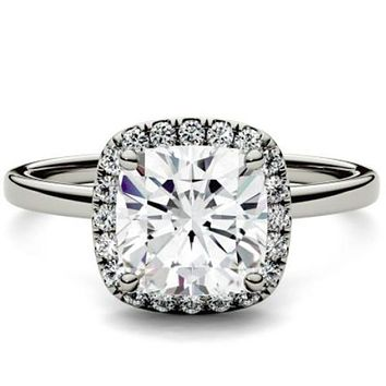 Forever One 1.43ct Cushion Cut Moissanite Halo Engagement Ring