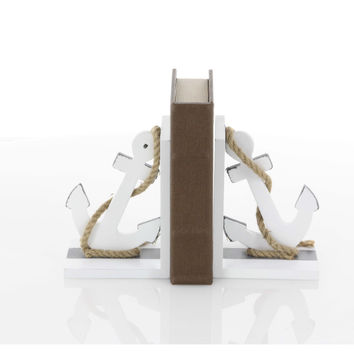 Classy Wood Anchor Bookend Pair