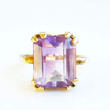 14K Gold Amethyst Ring Cushion Cut Promise Engagement Vintage Jewelry