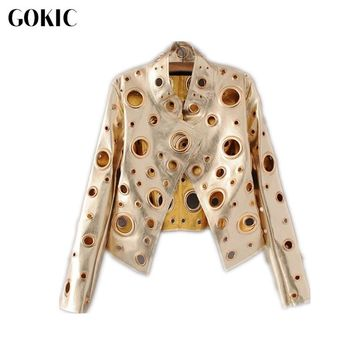 GOKIC Autumn New Gold PU leather coat jacket 2017 women Eyelet moto jacket Fashion Female basic winter jacket outwear coat
