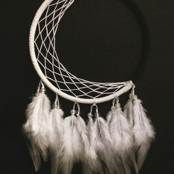 Moon illusion large dream catcher, white web, white feathers - 5 inches diameter dreamcatcher hand made