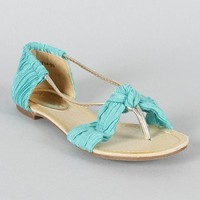 Tia-02 Knotted Pleated Open Toe Flat Sandal