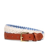 Kiel James Patrick White and Light Blue Braided Belt - Brooks Brothers