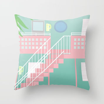 Motel Paradise Throw Pillow by Claudia Duarte