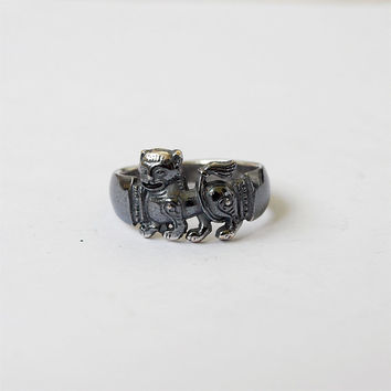 Abstract Lion Ring Metal Silver plated Brass Casting Ring Size 7