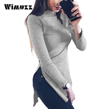 Wimuzz Side Split Turtleneck Pullover Sweater Women Pink Long Sleeve Casual Spring Autumn Pull Femme