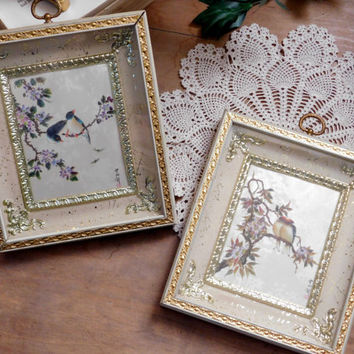 Framed Bird Prints Ornate Gold Ready to Hang