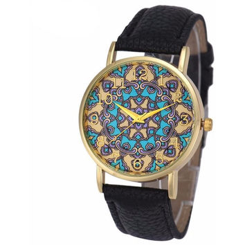 Black Faux Leather Floral Watch
