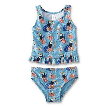 Joe Boxer Toddler Girls' Tankini Swim Top & Bikini Bottoms - Toucan
