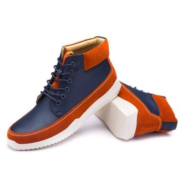 Men Color Blocking Lace Up Casual Ankle Boots