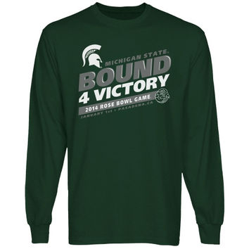 Michigan State Spartans 2014 Rose Bowl Bound 4 Victory Long Sleeve T-Shirt - Green