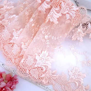 Lace trim, Embroidered tulle lace, Embroidered net trim, Bridal lace, Doll lace, Lingerie fabric, Peach floral lace,  2 yards OR024