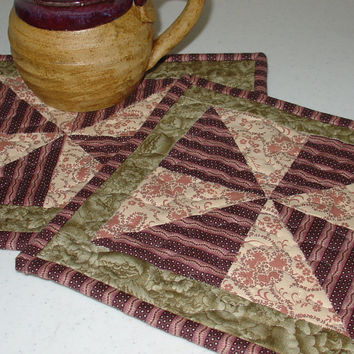 Quilted Mug Rug, Purple, Pink and Green 8 x 9 Pin Wheel design, handmade, hand sewn binding, washable. Great for Mothers Day