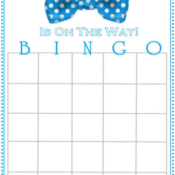 Blue Bow Tie Themed Baby Shower Bingo Cards