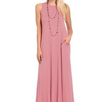 Pastel by Vivienne Womens Sleeveless Maxi Dress with Pockets