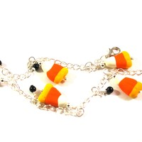 Halloween Candy Corn Charm Bracelet with Black Accent Beads