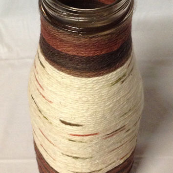 Brown & Tan Yarn Wrapped Glass Bottle by RandomCraftsBySundee