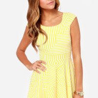 White Crow Spin Ivory and Yellow Striped Dress