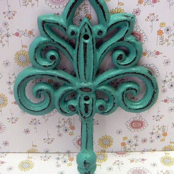 Fleur de lis Cast Iron Aqua Turquoise Blue Wall Hook Ornate French FDL Scroll Paris Shabby Style Chic Leash Jewelry Hat Ornate Bathroom