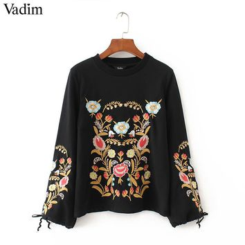 Women Embroidery floral pattern black sweatshirts long wide sleeve bow tie warm winter pullover vintage loose casual tops