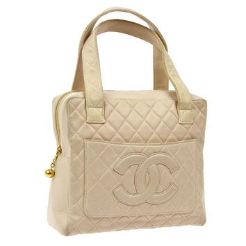Auth CHANEL Quilted CC Logos Hand Tote Bag Light Pink Leather Vintage V13765