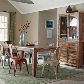 Rustically Charmed Multi Color Dining Table, Multi Color