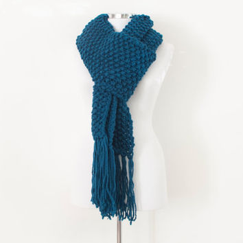 Teal knit scarf,tassel scarf, long winter scarf, chunky daily scarf, warm cozy scarf