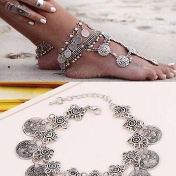 Antique Silver Bohemian Bracelet Barefoot Sandal Turkish Coin Anklet Fashion Jewelry