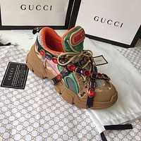 GUCCI Trending Women Stylish Flashtrek Crystals Sport Shoes Sneaker I/A
