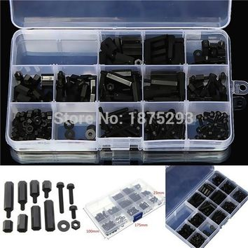 260pcs M3 Black M-F Hex series nylon screws nuts PCB board height hexagon spacer kit complete With box #120288