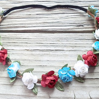 Patriotic Flower Crown American Flag headband Red white and Blue headband Floral head wrap Vintage Flag hair band Rose Flower Crown