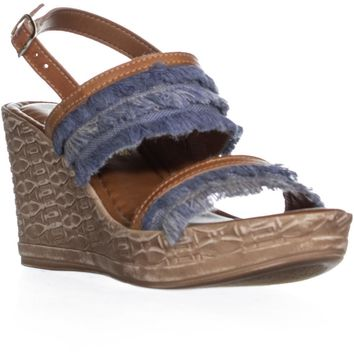 Easy Street Zaira Fringe Wedge Sandals, Denim/Tan, 5.5 US