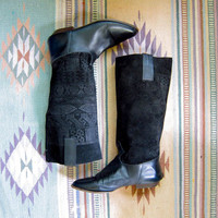 80s leather and suede boots. Tribal print boots. Tall leather boots.