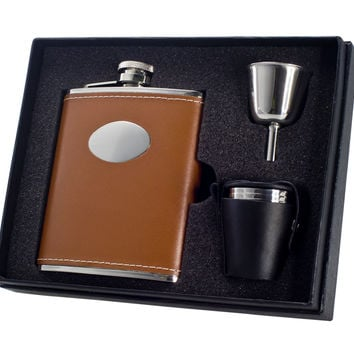 Visol 6 oz Brown Leather Engravable Stainless Steel Flask Gift Set