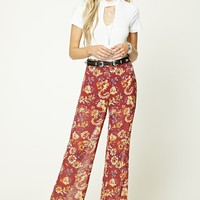Semi-Sheer Floral Pants
