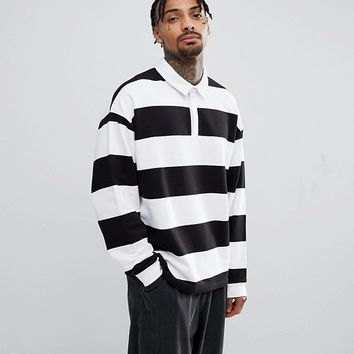 ASOS Striped Oversized Rugby In Black & White at asos.com