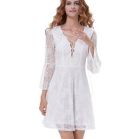 Bell Sleeves Short Evening Dress V Neck Lace Prom Dresses Girls White Bride Formal Party Gowns