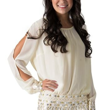 Karlie Ivory Chiffon with Silver and Gold Sequined Skirt Long Sleeve Cold Shoulder Dress
