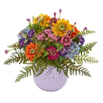 Artificial Flowers -Mixed Floral Arrangement In Purple Vase Artificial Plant